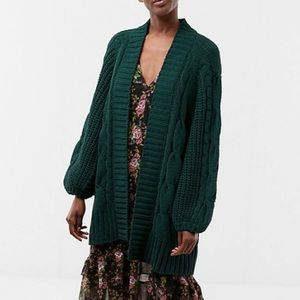 Express Green Chenille Oversized Cardigan M